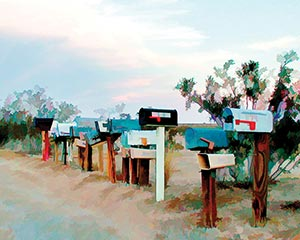 Postboxes on side of Desert Road