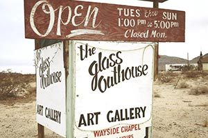 The Glass Outhouse Art Gallery in Twentynine Palms, CA