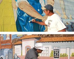 Painting murals in 29 Palms, California