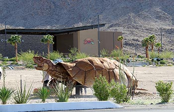 Sculpture of Giant Tortoise Outside of Tortoise Rock Casino