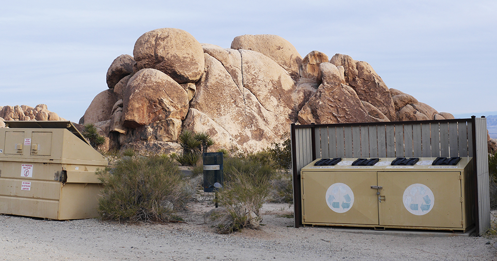 Joshua Tree National Park, trash and recycling dumpsters being cleaned by 29 Palms community volunteers