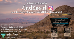 #MeetUsonRoute66 Insta Meet at Amboy Crater in Mojave Trails National Monument, brought to you by the BLM, Mojave Desert Land Trust, and the City of 29 Palms.