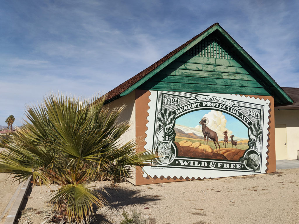 20th Anniversary of the California Desert Protection Act Mural, Old Schoolhouse Museum, 29 Palms, California.