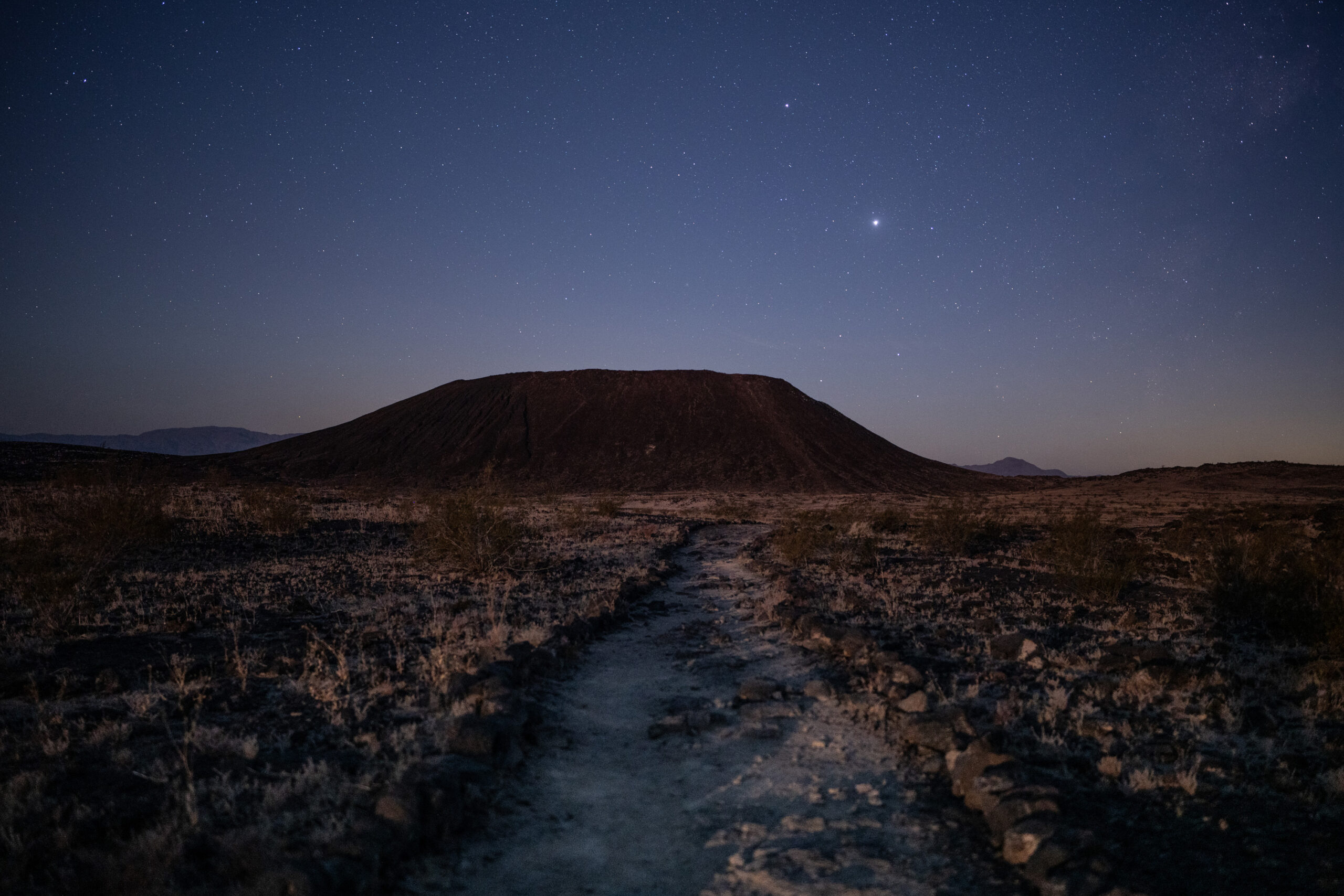 Jack Fusco - Amboy Crater Jupiter Saturn Above Mojave Trails National Monument